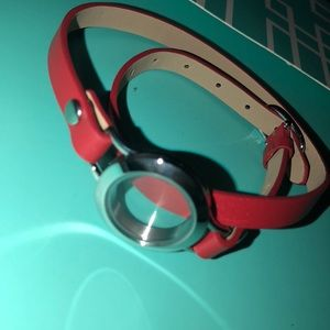 red silver locket leather bracelet